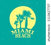 miami beach retro logo for t... | Shutterstock .eps vector #1113627737