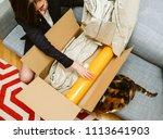 business woman unpacking... | Shutterstock . vector #1113641903
