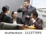 business team having a coffee... | Shutterstock . vector #111377093