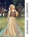 beautiful blonde woman in a... | Shutterstock . vector #1113844193