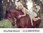 a beautiful sexy woman rider... | Shutterstock . vector #1113845903