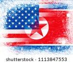 north korea vs united states... | Shutterstock . vector #1113847553