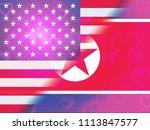 north korean and america... | Shutterstock . vector #1113847577