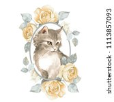 Stock photo cat cute kitten and roses watercolor illustration 1113857093