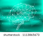 brain network on a green... | Shutterstock .eps vector #1113865673