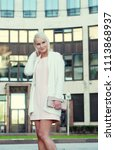 beautiful blond young woman... | Shutterstock . vector #1113868937