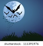 illustrations of Halloween night with bats flying over blue moon - stock vector
