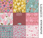 Romantic seamless patterns. Vector set. Cartoon patterns for cute wallpapers - stock vector