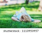 beautiful happy blonde girl... | Shutterstock . vector #1113953957