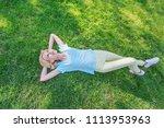 beautiful happy blonde girl... | Shutterstock . vector #1113953963