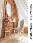 vintage elegant mirror in the... | Shutterstock . vector #1113956357
