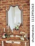 vintage elegant mirror in the... | Shutterstock . vector #1113956363