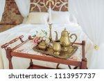vintage elegant serving table... | Shutterstock . vector #1113957737
