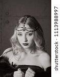beautiful blonde girl closeup.... | Shutterstock . vector #1113988997