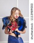 beautiful blonde girl closeup.... | Shutterstock . vector #1113989003