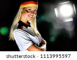 beautiful blonde woman with... | Shutterstock . vector #1113995597