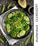 healthy salad of broccoli ... | Shutterstock . vector #1114010297