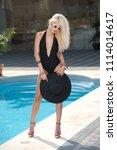 beautiful sensual blonde with... | Shutterstock . vector #1114014617