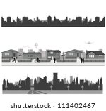 suburban homes and city skyline | Shutterstock .eps vector #111402467