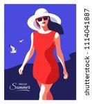 hello summer. abstract woman ...   Shutterstock .eps vector #1114041887