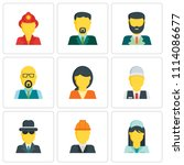 set of 9 simple editable icons... | Shutterstock .eps vector #1114086677