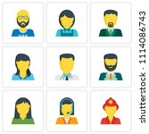 set of 9 simple editable icons... | Shutterstock .eps vector #1114086743