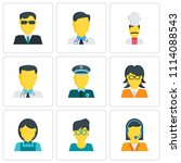 set of 9 simple editable icons... | Shutterstock .eps vector #1114088543