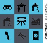 set of 9 simple editable icons... | Shutterstock .eps vector #1114105343