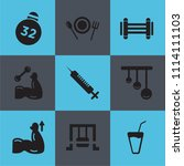 set of 9 simple editable icons... | Shutterstock .eps vector #1114111103