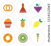 set of 9 simple editable icons... | Shutterstock .eps vector #1114112063