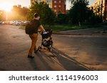 father dad with newborn pram...   Shutterstock . vector #1114196003