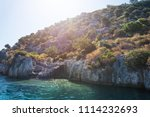 sea  near ruins of the ancient... | Shutterstock . vector #1114232693