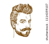 portrait of man with moustaches ... | Shutterstock .eps vector #1114359107