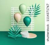 3d render balloons on striped... | Shutterstock . vector #1114371767