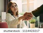 handshake of business office... | Shutterstock . vector #1114423217