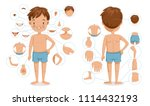 boy body front view and rear... | Shutterstock .eps vector #1114432193