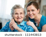 senior woman with her caregiver ... | Shutterstock . vector #111443813