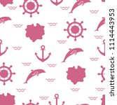 seamless pattern with dolphins  ... | Shutterstock .eps vector #1114443953