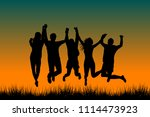 men and woman holding their...   Shutterstock . vector #1114473923