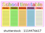 school timetable  a weekly... | Shutterstock .eps vector #1114476617
