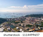 industrial view at oil refinery ... | Shutterstock . vector #1114499657