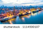 container ship in export and... | Shutterstock . vector #1114500107