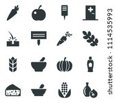black vector icon set pumpkin... | Shutterstock .eps vector #1114535993