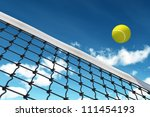 Tennis Ball over Net with background sky - stock photo
