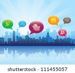 social media city | Shutterstock .eps vector #111455057