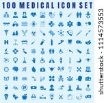 vector medical icon set of 100... | Shutterstock .eps vector #1114573553