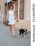 woman with a dog walking down... | Shutterstock . vector #1114640933