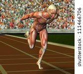 3D rendering of the muscle structure of an athlete at the finish - stock photo