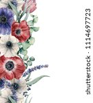 watercolor floral card with red ... | Shutterstock . vector #1114697723