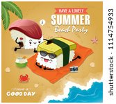 vintage summer poster with... | Shutterstock .eps vector #1114754933